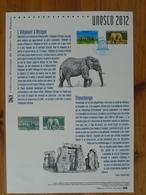 Document Officiel FDC 12-571 Préhistoire Prehistory Stonehenge Elephant Patrimoine Mondial Unesco World Heritage 2012 - Préhistoire