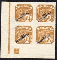 SLOVAKIA, 1939  2h BROWN IMPERF CNR BLOCK 4 MNH - Slovakia