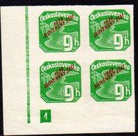 SLOVAKIA, 1939  9h GREEN IMPERF CNR BLOCK 4 MNH - Slovakia