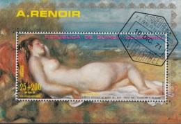 Guinea Equatoriale 1973 Bf. 55A Bagnante Distesa... Quadro Dipinto Renoir Sheet Perf. CTO Post Impressionismo - Impressionismo