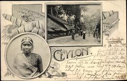 Cp Sri Lanka, Frau In Traditioneller Kleidung, Ortspartie - Sri Lanka (Ceylon)