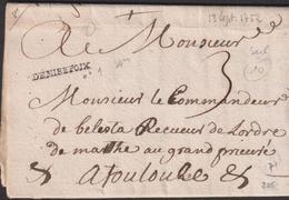 LETTRE DE L'ARIEGE AVEC GRIFFE DE DEMIRPOIX LAC 1752 TB - Marcofilie (Brieven)