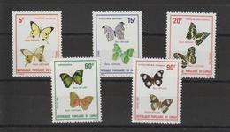 Congo 1980 Papillons 566-70 5 Val ** MNH - Kongo - Brazzaville