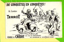 BUVARD & Blotting Paper  :  Le SCOOTER TERROT  De Conquetes En Conquetes Lyon Signe Casi - Moto & Vélo