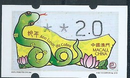 MACAU ATM LABELS, 2013 YEAR OF THE SNAKE ISSUE 2.00 PAT FINE UM MINT - 1999-... Chinese Admnistrative Region