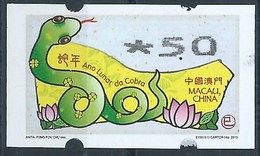 MACAU ATM LABELS, 2013 YEAR OF THE SNAKE ISSUE 5.00 PAT FINE UM MINT - 1999-... Chinese Admnistrative Region