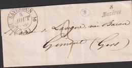 LETTRE DE L'ARIEGE AVEC CACHET TYPE 12 DE SAVERDUN LAC 1841 TB - 1701-1800: Precursori XVIII