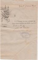 Courrier 1891 Convocation Répétition Chorale De Gray 70 / Envoi Sous Bande Timbre Sage 1 F - 1800 – 1899