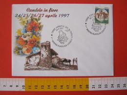 A.13 ITALIA ANNULLO 1997 CANDELO BIELLA MOSTRA FILATELICA FIORE FIORI RICETTO CASTELLO FORTIFICAZIONE MEDIOEVO - Flora