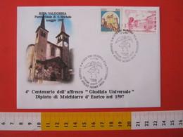 A.13 ITALIA ANNULLO 1997 RIVA VALDOBBIA VERCELLI VALSESIA AFFRESCO FACCIATA CHIESA PITTURA MELCHIORRE D' ENRICO ANGELO - Religione