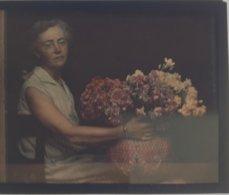 """Autochrome """"Lumiere""""  1930 : Dame Au Bouquet - Plaques De Verre"""