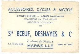 Carte Commerciale Société Boeuf, Deshayes & Cie, Marseille, Cycles Et Motos, Cycles Phénix, Agence D'Automoto - Werbung