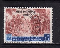 REPUBBLICA DI SAN MARINO 1952 FIERA DI TRIESTE FAIR LIRE 15 USATO USED OBLITERE' - Gebraucht