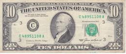 BILLETE DE ESTADOS UNIDOS DE 10 DOLLARS DEL AÑO 1985 LETRA C PHILADELPHIA  (BANK NOTE) - Billetes De La Reserva Federal (1928-...)