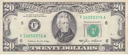 BILLETE DE ESTADOS UNIDOS DE 20 DOLLARS DEL AÑO 1985 LETRA F ATLANTA CALIDAD MBC (VF) (BANK NOTE) - Billetes De La Reserva Federal (1928-...)