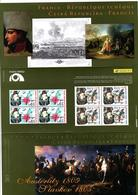 PLANCHE 4 TIMBRES AUSTERLITZ SLAVKOV 1805 2005 France République Tchèque NAPOLEON La Poste Ceska Posta - Sonstige