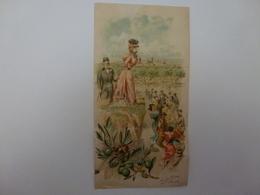 """PETIT CALENDRIER PUBLICITAIRE """" LIQUEUR FLORESTINE DES ALPES """" 1898, CHROMO MOULLOT FILS AINE-MARSEILLE- - Calendriers"""