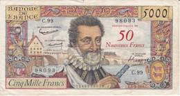 BILLETE DE FRANCIA DE 5000 FRANCS DEL 5-3-1959 DE HENRI IV - 50 NOVEAUX FRANCS  (BANKNOTE) - 1955-1959 Sovraccarichi In Nuovi Franchi