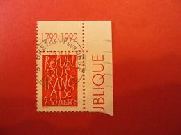 """1990-1999    - Timbre Oblitéré N°2775    """"200 Ans Proclammation République""""   Bord De Feuille   -net   1 - France"""