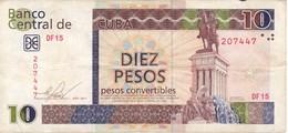 BILLETE DE CUBA DE 10 PESOS CONVERTIBLES DEL AÑO 2011  (BANKNOTE) - Cuba