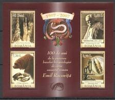 RM087 2007 ROMANIA SCIENCE BIOLOGY 100 YEARS EMIL RACOVITA MICHEL 13 EURO KB MNH - Natuur