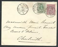 L Entête Affr N°45 + 46 Port Frontalier De GEDINNE /1888 Pour Charleville - 1884-1891 Leopold II