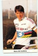 Mario DE CLERCQ, Champion Du Monde. 2 Scans. Cyclisme. Palmans Ideal - Radsport