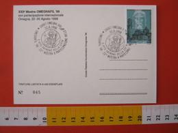 A.13 ITALIA ANNULLO 1998 OMEGNA VERBANIA RELIGIONE SAN S. VITO PATRONO DELLA CITTA' OMEGNAFIL '98 CARD S. MARTA S. CARLO - Teologi