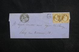 FRANCE - Lettre De St-Pierre-sur-Dives Pour Paris En 1861 , Affranchissement Napoléon 10ct En Paire, PC 3247 - L 52801 - 1849-1876: Periodo Classico