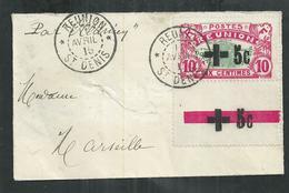Réunion. Timbre Bord De Feuille Carte De L'ile Surcharge Croix Rouge Noire Sur Petite Enveloppe Pour Marseille - Réunion (1852-1975)
