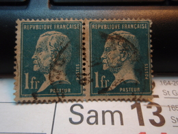 2 Timbres  PASTEUR Oblitérés   1 F  . - 1922-26 Pasteur