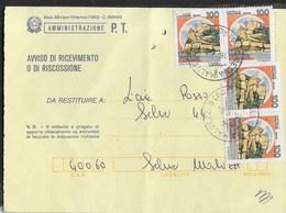 STORIA POSTALE REPUBBLICA - RICEVUTA RITORNO MOD 23-1 (EDIZ. 1983) DA SELVA MALVEZZI (B0) 1981 - DOPPIA COPPIA CASTELLI - 1981-90: Marcophilia