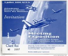 Invitation Meeting Exposition Les Ailes Du Petit Prince. Bourg En Bresse 2000 - Tickets D'entrée