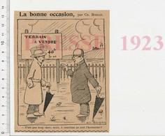 Humour De 1923 Terrains à Vendre Immobilier Zone Inondable ?? Parapluie Prix Du Terrain CHV-21 - Vieux Papiers