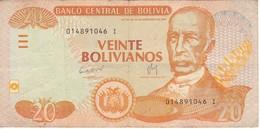 BILLETE DE BOLIVIA DE 20 BOLIVIANOS DEL AÑO 1986  (BANKNOTE) - Bolivia
