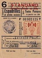 WW2 1944 - LEVALLOIS-PERRET Restrictions - COUPON D'ACHAT Pour Des ESPADRILLES - - Historische Dokumente