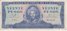 BILLETE DE CUBA DE 20 PESOS DEL AÑO 1961 FIRMA DE CHE GUEVARA (BANK NOTE)  CAMILO CIENFUEGOS - Cuba
