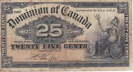 BILLETE DE CANADA DE 25 CENTIMOS DEL AÑO 1900  (BANKNOTE) - Canada