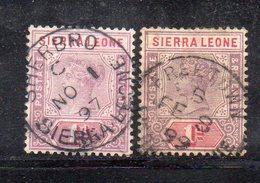 APR1999 - SIERRA LEONE 1897 , Yvert N. 32 Usato Fil CA (2380A) Due Esemplari - Sierra Leone (...-1960)