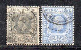 APR2715 - SIERRA LEONE 1907 , Yvert N. 78+79 Usato Fil MultiCA (2380A) - Sierra Leone (...-1960)
