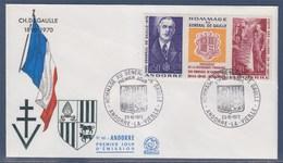 = Triptyque Hommage Général De Gaulle Président Français Et Coprince D'Andorre 398 / 399 Enveloppe 1er Jour 23.10.72 - Lettres & Documents