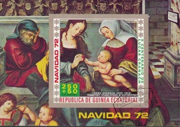 "Guinea Equatoriale 1972 Bf. 43B ""Trittico Sacra Famiglia"" Quadro Dipinto L. Cranach Vecchio Sheet Imperf. CTO Paintings - Religious"