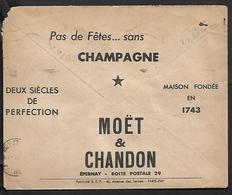 Cheque Cover France Paris Departement Champagne Moet & Chandon Brut Imperial  Chèques Postaux.CCP. - Advertising