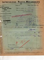 71- MACON- FACTURE J. COMBIER -FABRIQUE CARTES POSTALES ILLUSTREES- 4 RUE AGUT -1935 - Old Professions