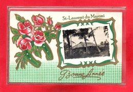 GUYANE-CPA SAINT LAURENT DU MARONI - BONNE ANNEE - CARTE DOUBLE AVEC LETTRE A L'INTERIEUR - RARE - Saint Laurent Du Maroni