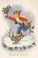 Bonne Année (Voeux) - Houx - Enfant - Panier - Chien - Neige - Nouvel An