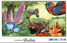 CHROMO CHOCOLAT POULAIN SERIE 105  N° 44  DEUX ESCARGOTS S'EN VONT A L'ENTERREMENT - Poulain