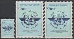 Bénin 2019 Mi. ? Joint Issue Emission Commune ICAO OACI Cotonou Map Civil Aviation Civile 3 Val. MNH** - Bénin – Dahomey (1960-...)