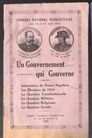 """Plaquette BONAPARTISTE 1913 """"un Gouvernement Qui Gouverne ! """"  (PPP11637) - Histoire"""