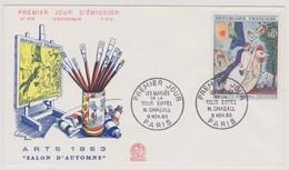 FRANCE 1963 FDC 1er Jour N°YT 1398 Marc CHAGALL Salon D'Automne Arts 1963 PARIS 9-11-1963 - 1960-1969